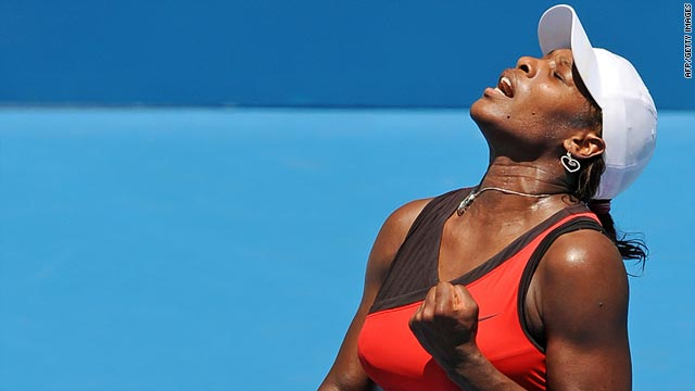 World No. 1 Serena Williams celebrates winning a game during her victory over Maria Jose Martinez Sanchez.