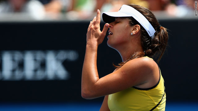 Ana Ivanovic of Serbia reacts after a point in her second round match.