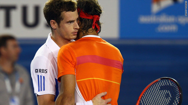 Andy Murray (left) consoles Rafael Nadal (right) after defeating the world number two at the Australian Open.