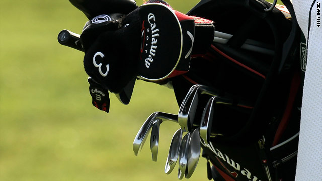 A close up view of Mickelson's bag including the wedge which has sparked a row.
