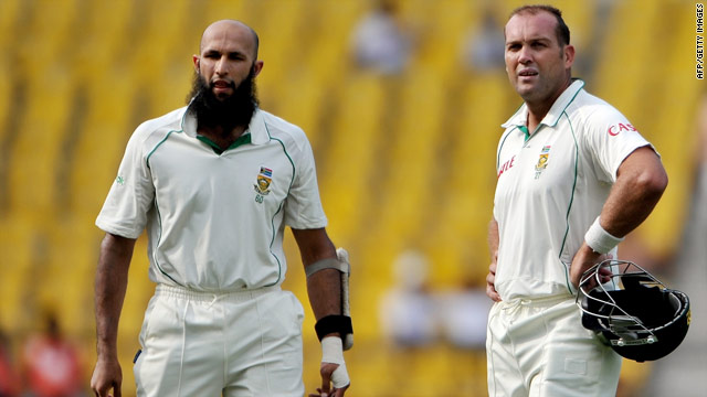 Hashim Amla, left, and Jacques Kallis stood firm after South Africa lost two early wickets in Nagpur.
