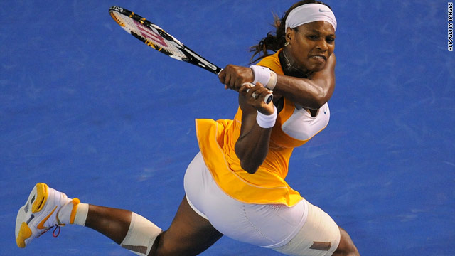 Serena Williams had her leg heavily strapped in the Australian Open final against Justine Henin in Melbourne.