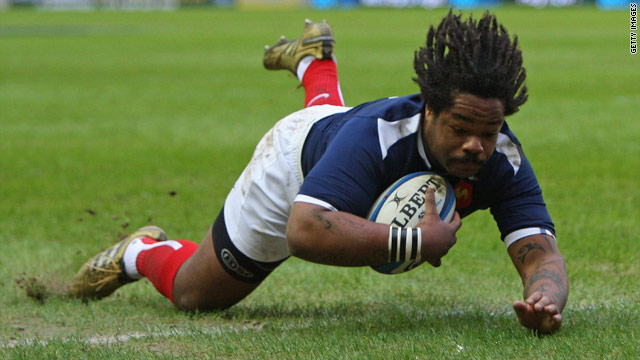 Mathieu Bastareaud scores the opening try for France against Scotland at Murrayfield in Edinburgh.
