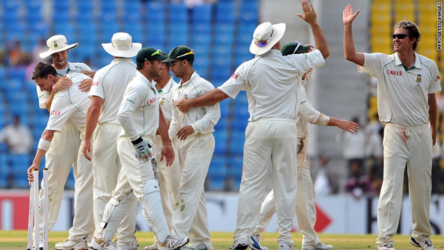 South Africa players celebrates securing a stunning innings victory over India in Nagpur.