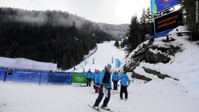 Warm weather has delayed the Alpine skiing competition.