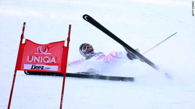 Lindsey Vonn crashes during the Audi FIS Alpine Ski World Cup Women's Giant Slalom in December.