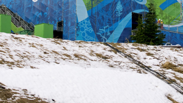 Warm weather and rain have caused snow to melt at an Olympic venue in Vancouver, British Columbia.