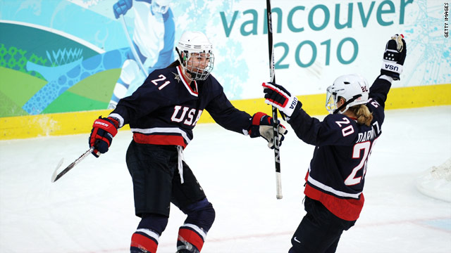 U.S. team members celebrate a goal during a preliminary game.
