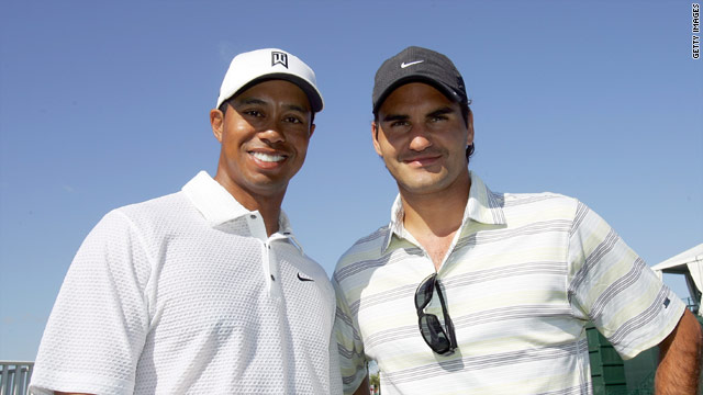 In happier times. Woods and Federer share a moment together at a golf tournament.