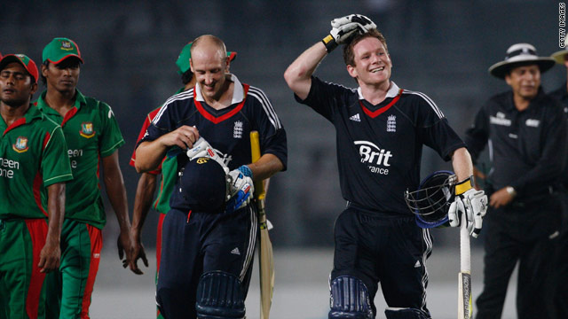 Morgan (right) powered England to a two-wicket win over Bangladesh in their one-day international.