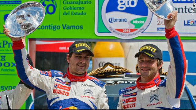 Sebastien Loeb (right) and co-driver Daniel Elena share the spoils of victory in Mexico.
