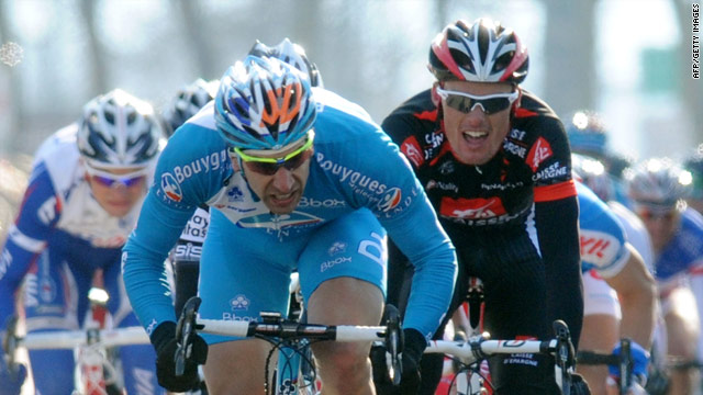 Frenchman William Bonnet holds on to claim victory in the second stage of Paris-Nice.