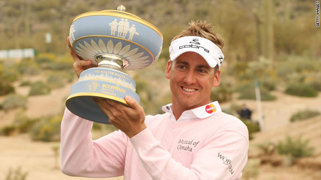 Ian Poulter lifts the Accenture World Matchplay trophy in Arizona in February.