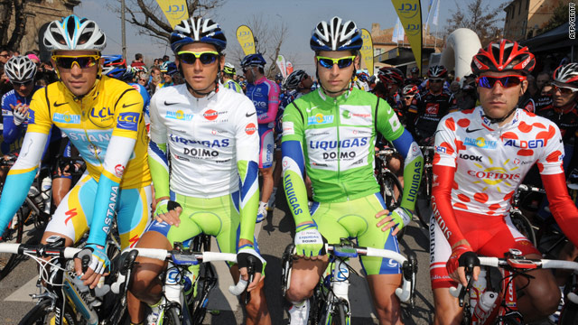 Contador (left) before the start of the sixth stage with the race's other jersey holders including Sagan in green.