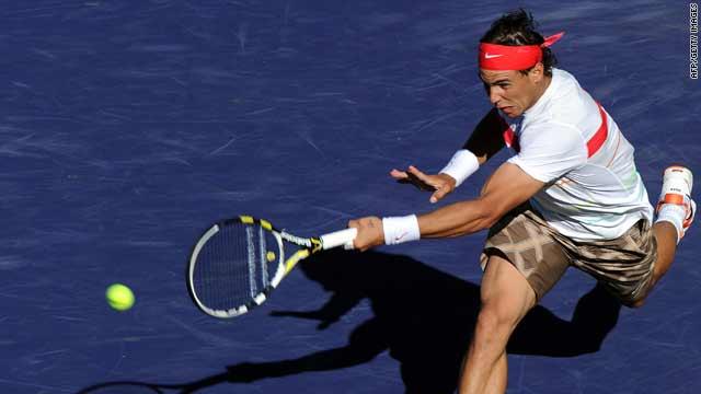 Rafael Nadal defeats John Isner at the BNP Paribas Open on Wednesday in Indian Wells, California.