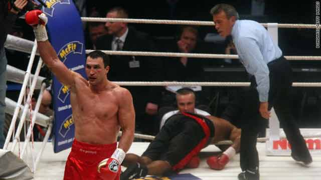 Wladimir Klitschko of Ukraine celebrates after his WBO Heavyweight World Championship fight against American Eddie Chambers Saturday in Duesseldorf, Germany.