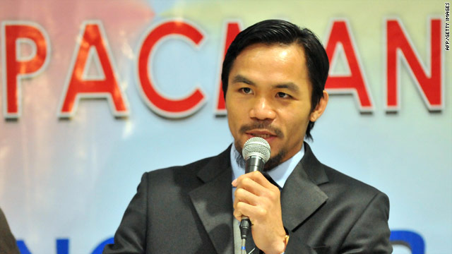Manny Pacquiao addressed his supporters after returning home to the Philippines on Monday.