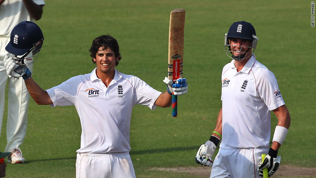 Cook reaches his 12th Test century during his match winning stand with Kevin Pietersen.