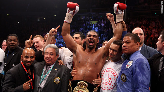 David Haye celebrates defending his WBA Heavyweight title after impressively stopping American challenger John Ruiz.