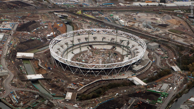 The construction site for the London 2012 Summer Olympic Games in the east of the city.