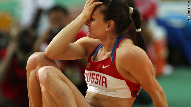 Isinbayeva was left distraught after failing to win a medal at the world indoor athletics championships in Qatar.
