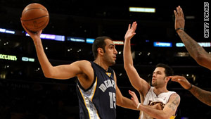 Hamed Haddadi, left, is the NBA's first Iranian basketball player.