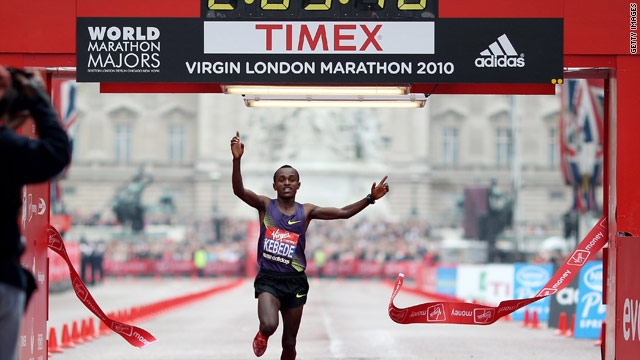 Tsegaye Kebede crosses the line first to secure victory in Sunday's London Marathon.