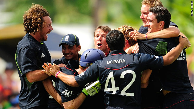 The England team celebrate after finally ending their trophy drought with victory in the world Twenty20 final.