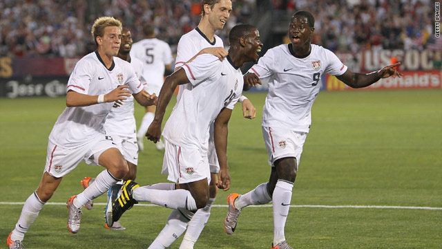 U.S. players celebrate after Maurice Edu, center, scores the opening goal against the Czech Republic.