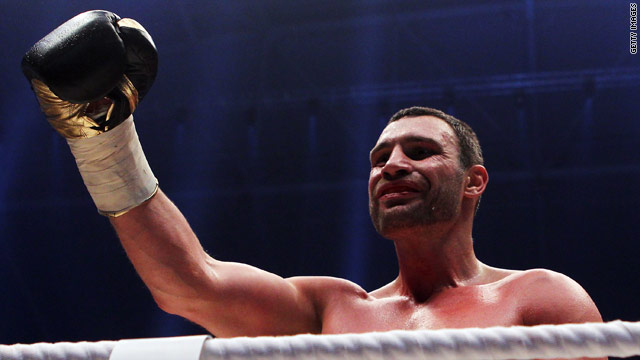 Vitali Klitschko acknowledges the crowd in Gelsenkirchen after his 10th round victory.