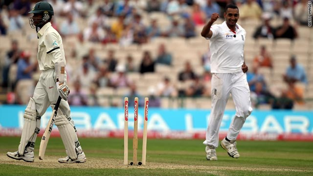 Seam bowler Ajmal Shahzad took three wickets on his Test debut for England as Bangladesh collpased at Old Trafford.