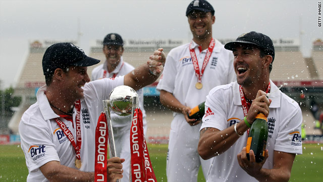 England captain Andrew Strauss (left) and Kevin Pietersen celebrate their series win over Bangladesh.