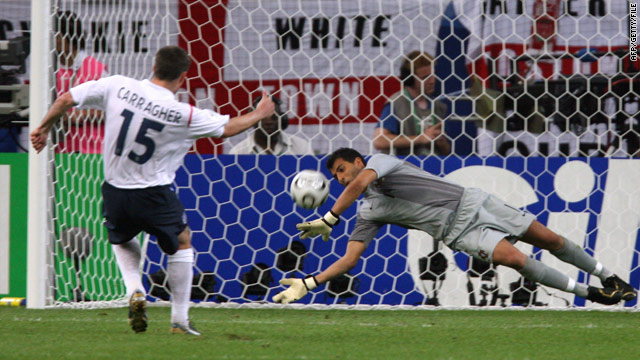 Portuguese goalkeeper Ricardo saves a penalty from England's Jamie Carragher during their 2006 quarter final match in Germany.