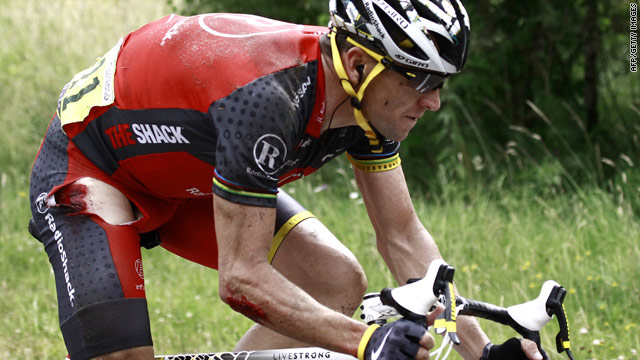 Lance Armstrong suffered cuts and abrasions after his crash on the second stage of the Tour de France.