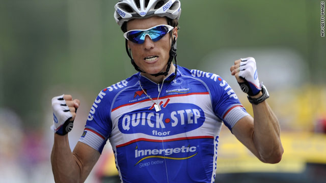 Quick Step rider Sylvain Chavanel celebrates after winning Saturday's seventh stage of the Tour de France.
