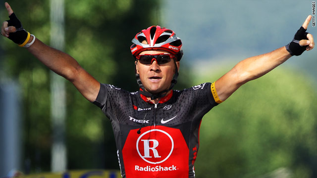 Portugal's Sergio Paulinho celebrates as he records his first ever Tour de France victory for the RadioShack team.