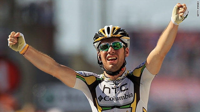 Mark Cavendish celebrates his victory in stage 11 of the Tour de France.