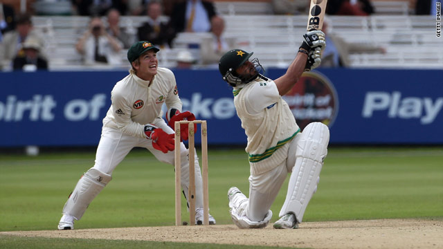 Afridi launches a big shot at Lord's on the fourth day but was caught on the boundary.