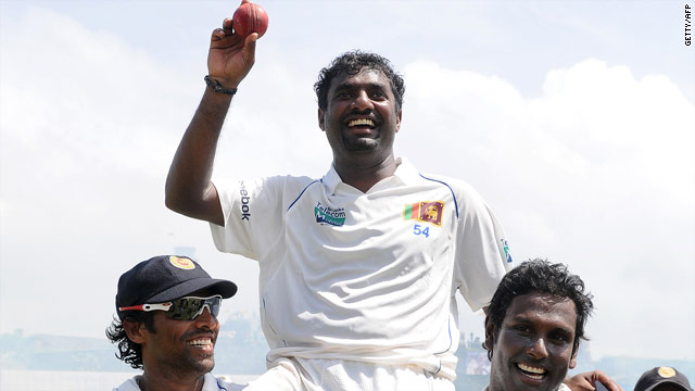 The retiring Muttiah Muralitharan is carried from the field after claiming his 800th Test wicket.