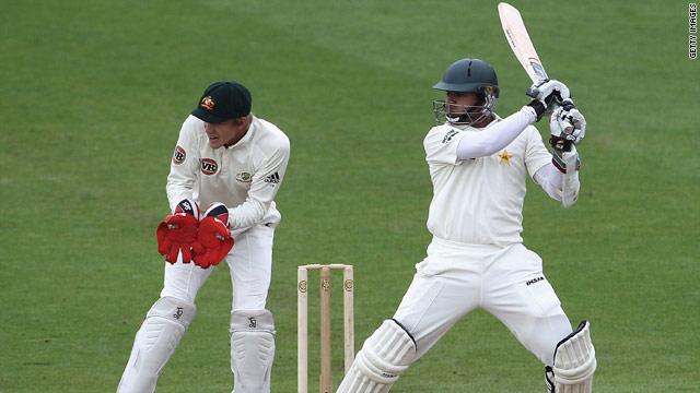 Azhar Ali is just three runs short of his half century as Pakistan sense victory over Australia.
