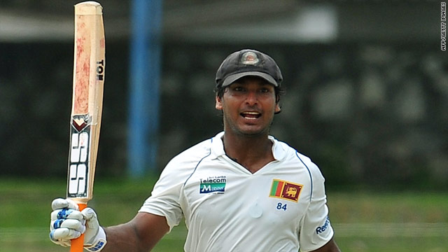 Kumar Sangakkara celebrates reaching his double century as Sri Lanka set about the Indian attack in Colombo.