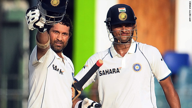 India veteran Sachin Tendulkar acknowledges yet another Test century, supported by debutant Suresh Raina.
