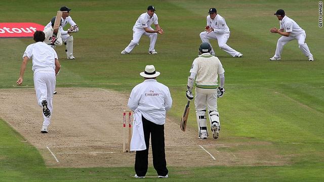 Pakistan captain Salman Butt is caught by Graeme Swann at second slip off the bowling of Steven Finn.