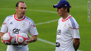 New French coach Laurent Blanc (right) takes a training session ahead of the match with Norway.