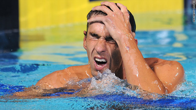 Michael Phelps reacts after winning the 200-meter butterfly final at the Pan Pacific Championships on Wednesday.