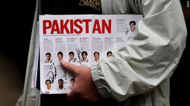 The Pakistan team is listed in the match program August 29 during day four of the 4th Test match with England in London.