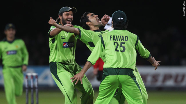 Pakistan players celebrate as they close on victory at Lord's in the fourth one-day international.