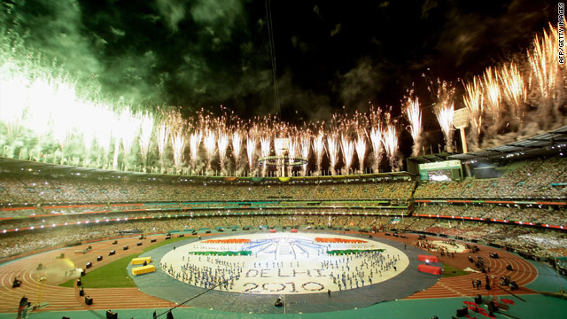 The closing ceremony of the 2006 Commonwealth Games in Melbourne, Australia, looks ahead to New Delhi 2010.