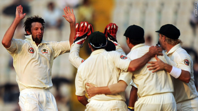 Australian bowler Ben Hilfenhaus celebrates taking another Indian wicket.