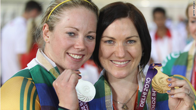 Cyclist Anna Meares, right, successfully defended her 500m time trial title from fellow Australian Kaarle McCulloch.
